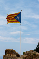 catalan independence flag from begur castle
