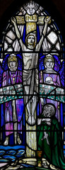 Crucified Christ in stained glass