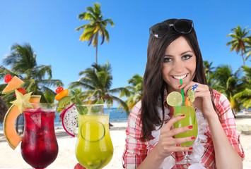 Happy young woman with summer drinks.
