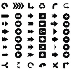 Set of black universal arrows. vector illustration