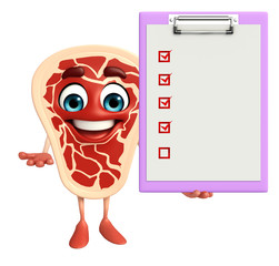 Meat steak character with notepad