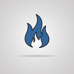 Fire icon with shadow - vector illustrtion
