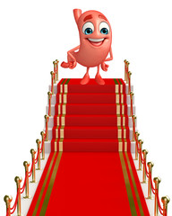 Cartoon Character of stomach with red carpet