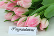 Congratulations card with pink tulips