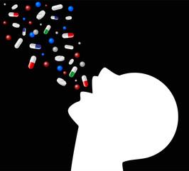 silhouette che ingoglia pillole di vario tipo