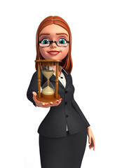 Young Business Woman with sand clock