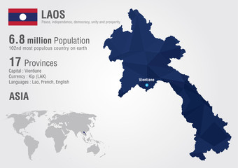 Laos world map with a pixel diamond texture.