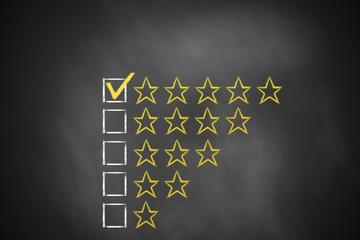 golden rating stars chalkboard