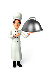 Young chef with dish pan