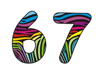 Background skin zebra shaped number six and seven