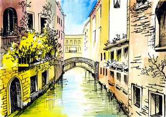 watercolor painting - сanal in Venice