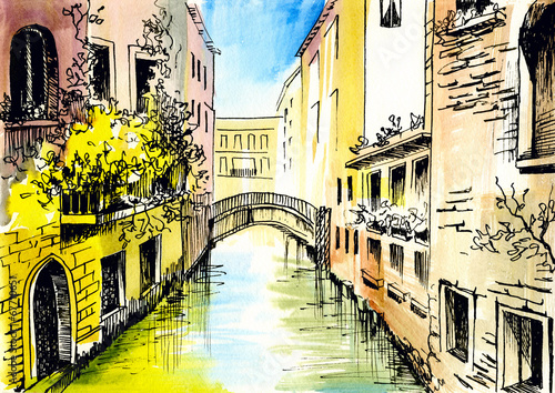 Obraz na Szkle watercolor painting - сanal in Venice