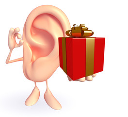Ear character with gift box