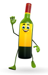 Wine Bottle Character with hello pose