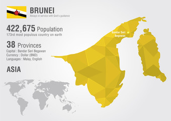 Brunei world map with a pixel diamond texture. World Geography