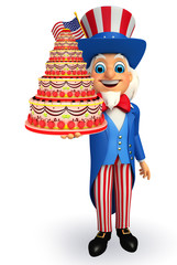 Uncle Sam with cake
