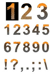 Colored textured numbers and punctuation marks.