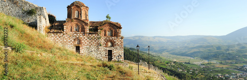 Foto op Aluminium Oude gebouw The orthodox church of holy Trinity at Kala fortless over Berat