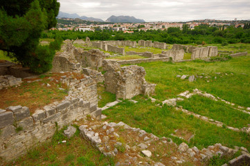 Ruins of the ancient amphitheater at Split, Croatia - archaeolog