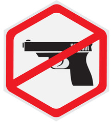 No guns allowed hexagon sign