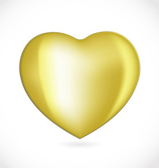 Golden valentines day heart logo vector