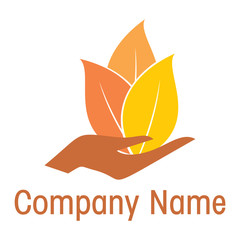 Hands and plant logo