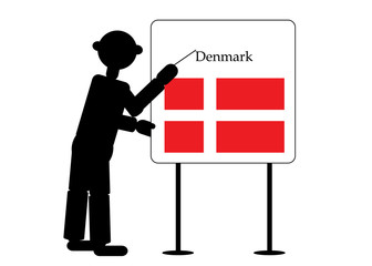 teacher shows flag denmark