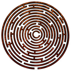 Copper maze on white