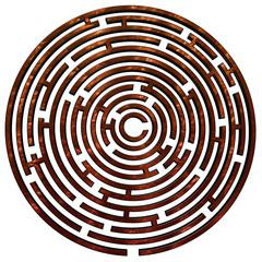 Copper maze on white
