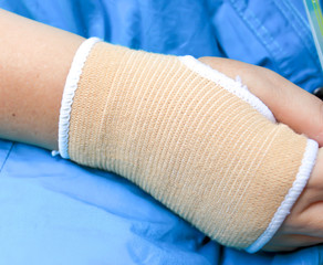 Trauma of wrist with brace