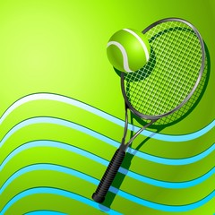 Tennis Racket and Ball on Green Background