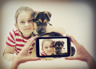 Child and puppy pictures