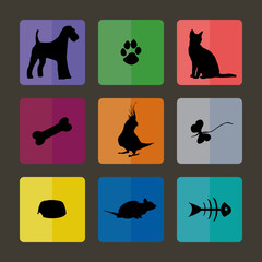 Veterinary Icons with pets.