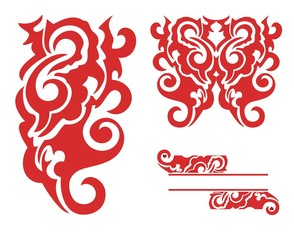 Red decorative elements