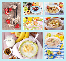 Collage of tasty oatmeal with fruits and berries