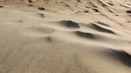 Wind blowing grains of sand in the desert