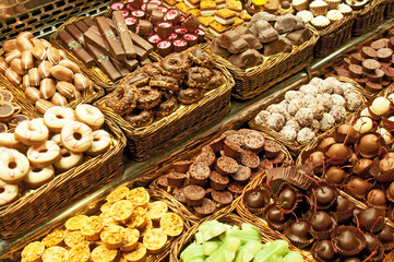 Dessert stall in La Boqueria, the most famous market at Barcelon