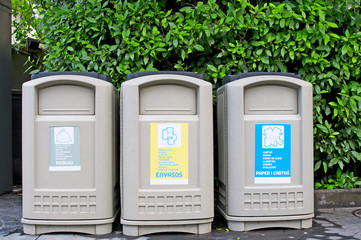 Different  bins for collection of recycle materials
