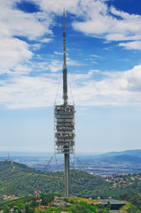TV tower in the mountains. Torre de Collserola observation tower
