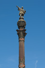 Monument to Christopher Columbus in Barcelona, Spain.