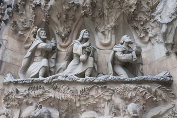 Detail of  Sagrada Familia church  in Barcelona, Spain.