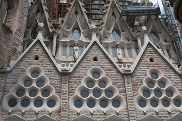 : Detail of  Sagrada Familia church  in Barcelona, Spain.