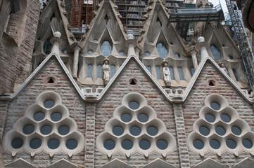 : Detail of  Sagrada Familia church  in Barcelona, Spain.