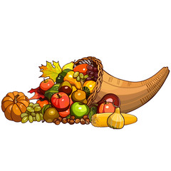 Cornucopia, wicker basket with autumn fruits, berries, nuts