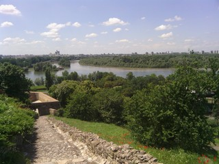 The confluence of the Sava and Danube Rivers