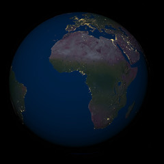 Earth at night over Africa