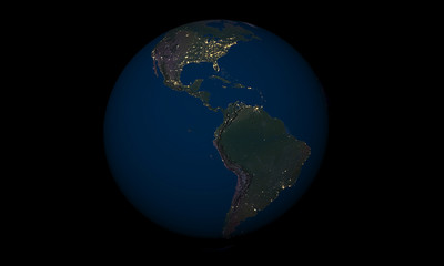Earth at night over Latin America