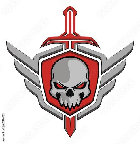 Plexiglas Retro Skull wing sword
