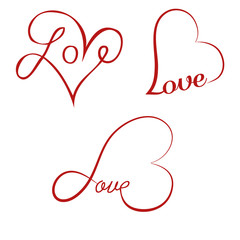 Love calligraphy hearts