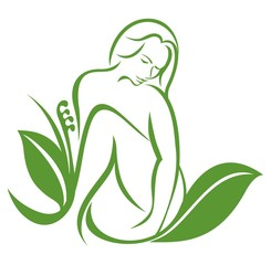 women and leaf